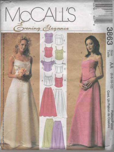 3863 Sewing Pattern McCall's Wedding Bridal Bustier Skirt 6 8 10 12
