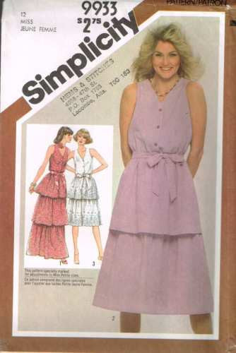 9933 Sewing Pattern Vintage Ladies Dress with Layered Skirts 12