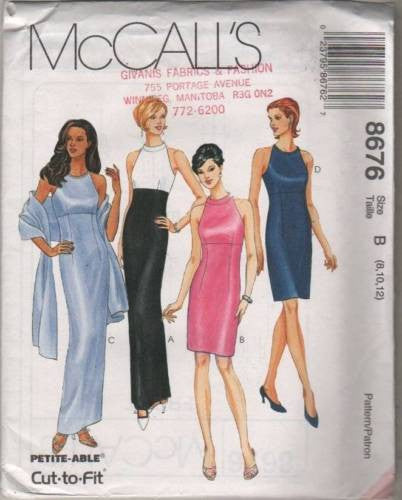 8676 Sewing Pattern McCall's Ladies Dress with Cut in Sleeve 8 10 12