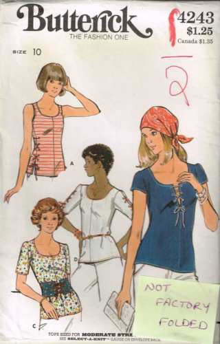 4243 Sewing Pattern Vintage Butterick Ladies Top with Lacing 10