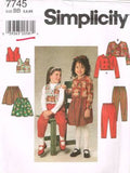 7745 Sewing Pattern Girls Double Breasted Jacket Pants Skirt Vest 5 6 6X