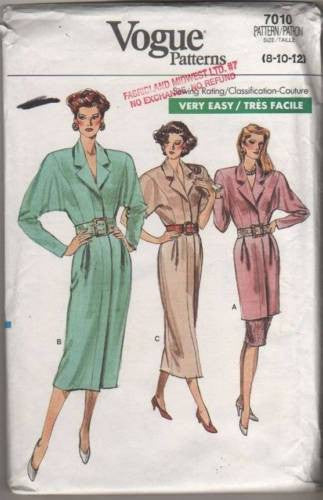 7010 Sewing Pattern Vogue Ladies Mock Button Front Dress Tunic and Skirt 8 10 12