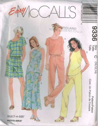 9336 Sewing Pattern McCall's Ladies Summer Top Pants 10 12 14