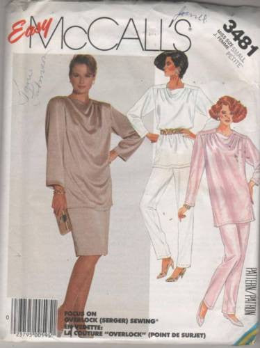 3481 Sewing Pattern Vintage McCall's Ladies Tunic Pants Skirt Small 10-12
