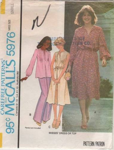 *5976 Sewing Pattern 1978 Vintage McCall's Ladies Top & Dress Small 10-12