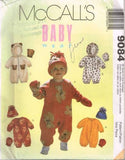 9084 Sewing Pattern McCall's Baby Infant Jumpsuit Mittens and Hat S M L XL