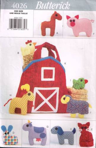 4026 Sewing Pattern Butterick Fabric Farmyard Friends and Barn Tote Bag