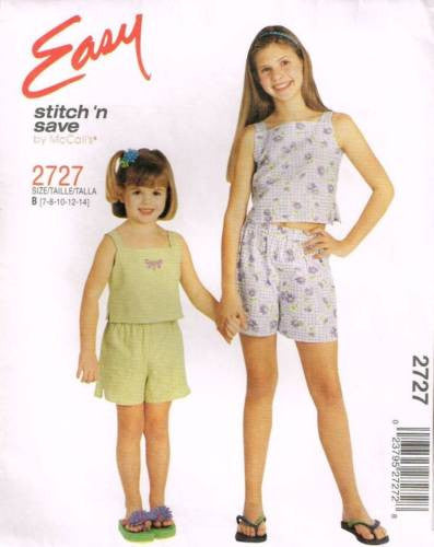 *2727 Sewing Pattern McCall's Girls Summer Top and Shorts 7 8 10 12 14