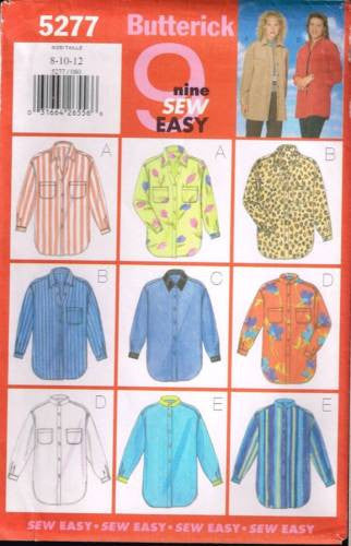 5277 Sewing Pattern Butterick Ladies Western Shirt 8 10 12