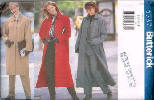 5737 Sewing Pattern Butterick Raglan Sleeve Coat 14 16 18