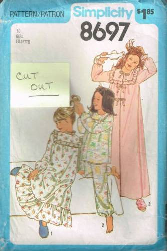 8697 Sewing Pattern Girls Pajamas Nightgown Robe 10 *CUT*