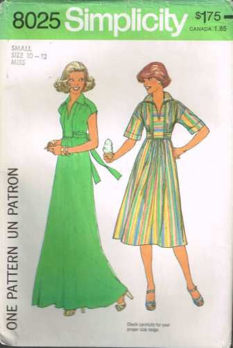 8025 Sewing Pattern Vintage Simplicity Ladies Dress S(10-12)