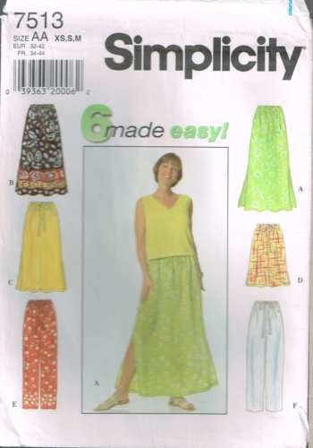 7513 Sewing Pattern Ladies Loose Fitting Skirt Pants XS S M