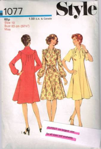 *1077 Sewing Pattern Vintage Style Ladies Dress with Tucks at Shoulder & Yoke 10 *CUT* +