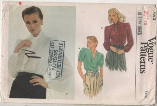 7673 Sewing Pattern Vintage Vogue Ladies Blouse 12