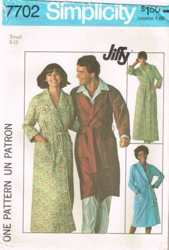 7702 Sewing Pattern Vintage Simplicity Unisex Bath Robe Small 8-10
