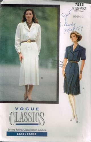 7583 Sewing Pattern Vintage Vogue Ladies Front and Back Pleats Dress 6 8 10