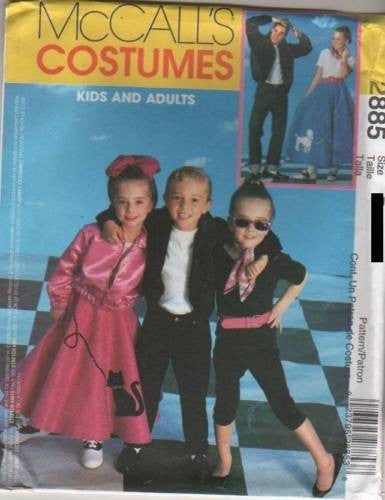 *2885 Sewing Pattern McCall's Costume Adults Poodle Circle Skirt 50's Applique S-M or L-XL