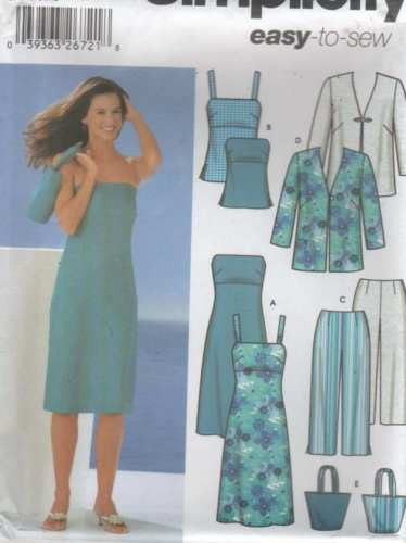 *5499 Sewing Pattern Ladies Camisole Dress Jacket Pants Tote Bag 14 16 18 20
