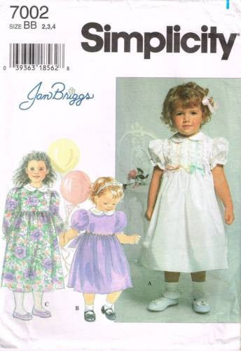 7002 Sewing Pattern McCall's Girls Dress Designed by Jan Briggs 2 3 4