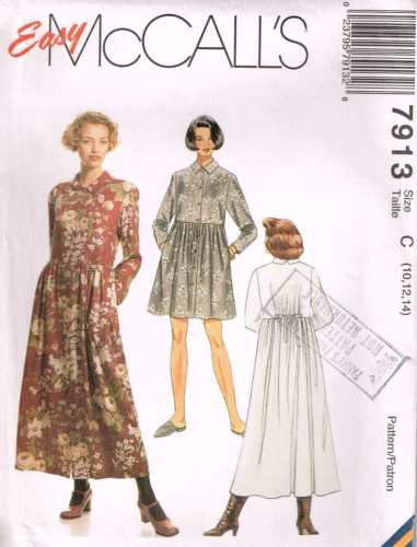 7913 Sewing Pattern McCall's Loose Fitting Dress 10 12 14