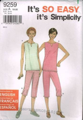 9259 Sewing Pattern Ladies Top and Pants 10 12 14 16 18 20