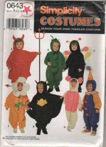 *0643 Sewing Pattern Costume Baby Toddler Mouse Flower Devil Butterfly Pea Pod Cl