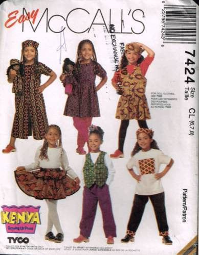 7424 Sewing Pattern Girls Unisex Dress T-Shirt Pants Skirt Jumpsuit 6 7 8