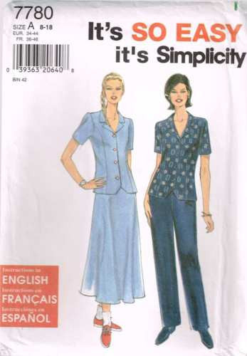 7780 Sewing Pattern Simplicity Ladies Top Pants Skirt 8 10 12 14 16 18