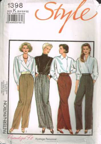 *1398 Sewing Pattern Style Ladies Trousers / Pants Pleat Front 8 10 12 +