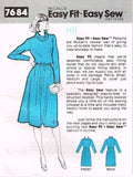 7684 Sewing Pattern Vintage McCall's Ladies Cowl Neck Dress XS S M L