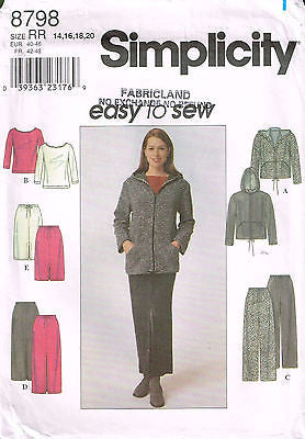 8798 Sewing Pattern Ladies Easy to Sew Hoodie Skirt Top Pants 14 16 18 20