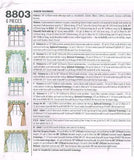 *8803 Sewing Pattern Window Treatment Valances and Panels