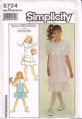 "8704 Sewing Pattern Girls ""Jessica McClintock"" Low Waist Dress 7"