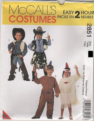 *2851 Sew Pattern McCall's Costume Kids Western Cowboy Cowgirl Native 5-6 or 7-8