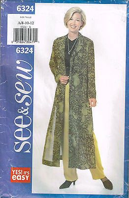 6324 Sewing Pattern Ladies Pants and Tunic Coat 8 10 12