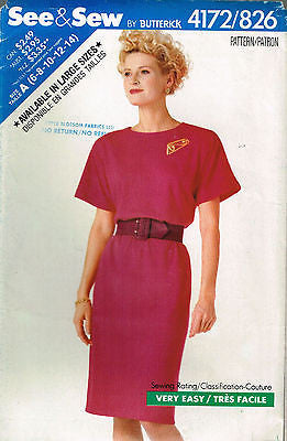 4172 / 826 Sewing Pattern Ladies Loose Fitting Dress 6 8 10 12 14