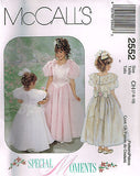 *2552 Pattern McCall's Girls Soecial Moments Wedding Bridal Dress 4-5-6 or 7-8-10