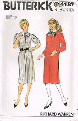 4187 Sewing Pattern Vintage Butterick Ladies Dress Mock Button Front 10 or 12