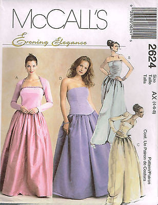 *2624 Pattern McCall's Ladies Skirt Bustier Shrug Wedding Grad Prom 4-8 or 14-18