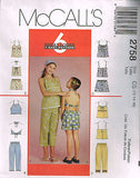 *2758 Sew Pattern McCall's Girls Summer Top Capris and Shorts choose from sizes