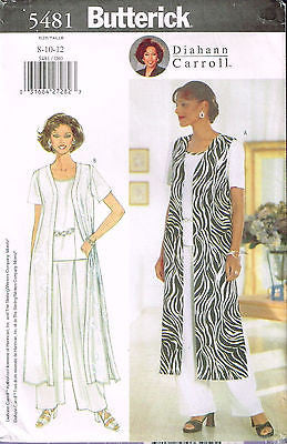 5481 Sewing Pattern Vogue Loose Pants Top Duster Coat 8 10 12