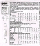 8661 Sewing Pattern Ladies Color Blocked Jacket Top Pants 12 14 16