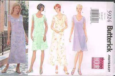 *5924 Sewing Pattern Butterick Loose Fitting Three Hour Dress 8 10 12