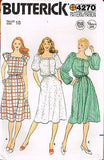 4270 Sew Pattern Vintage Butterick Ladies Square Neck Dress Choose Size 10 or 12