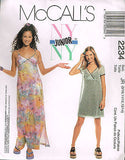 2234 Sewing Pattern McCall's NY Junior Ladies Slip Dress & Overdress 1-8 or 9-14