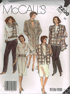 *2200 Sew Pattern McCall's Ladies Jacket Coat Dress Pants Skirt Blouse 12 or 14