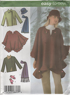 *4783 Sewing Pattern Ladies Jacket Poncho Hat Mitts Scarf XS-S-M or L-XL