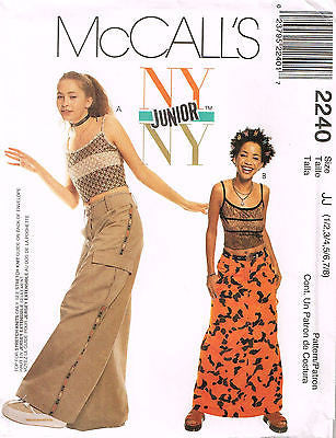2240 Sewing Pattern McCall's NY Junior Ladies Pants Skirt Camisole 1-8 or 9-14