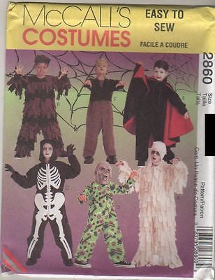 *2860 Pattern McCall's Kids Costume Dracula Skeleton Mummy 3-4-5 or 10-12-14
